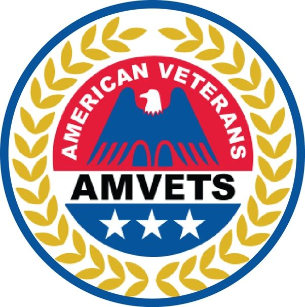 UP-1055 - Carved Wall Plaque of the Badge of the  American Veterans (AMVETS), Artist Painted