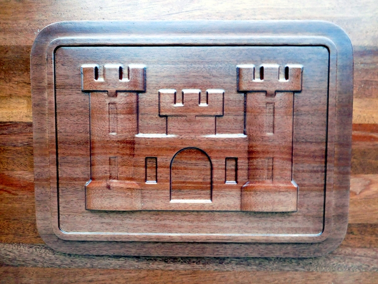 "MP-2740 - Carved Plaque of the Insignia ""The Castle"" of the US Army Corps of Engineers (USACE),  Mahogany Wood"