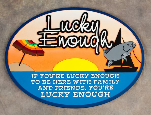 "L21344- Coastal Residence Name Sign ""Lucky Enough"", With Umbrella, Fish and Sailboat"