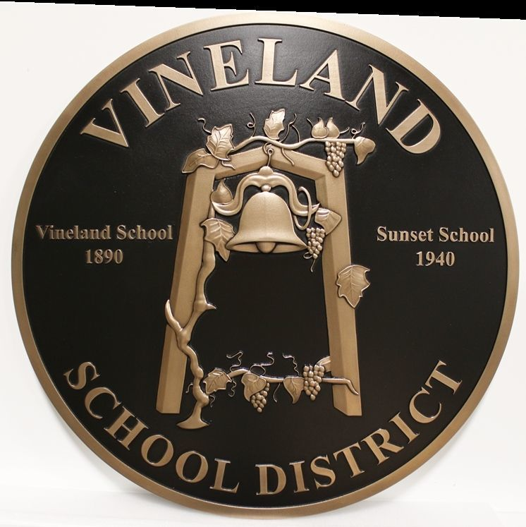 TP-1075 - Carved 3-D HDU Plaque of the Seal of the Vineland School District
