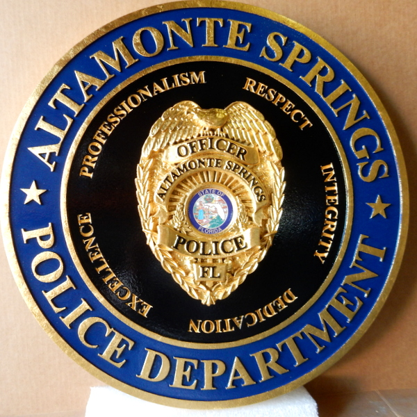 X33436  - Carved 3-D Wall Plaque of Badge of The Police Department of Altamont Springs, with 24K Gold Leaf