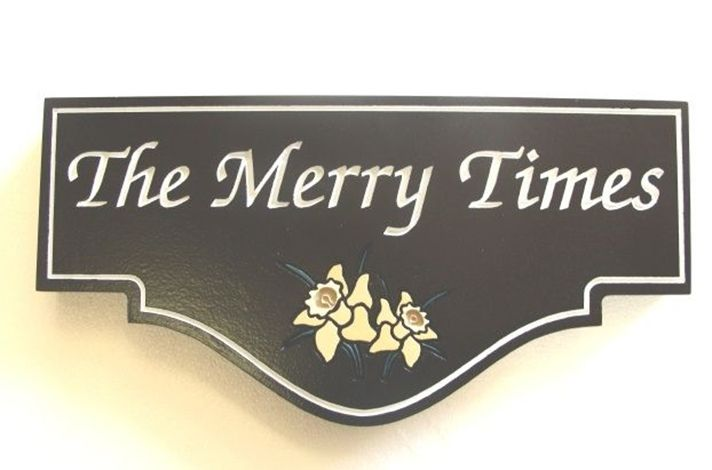 "I18246 -  Engraved Property Name Sign, ""The Merry Times"", with Buttercup Flower as Artwork"