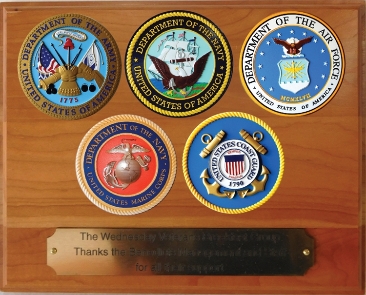 EA-1020 - Five Armed Forces Seals with Printed  Giglee Vinyl Seals Mounted on Mahogany Veneer Plaque