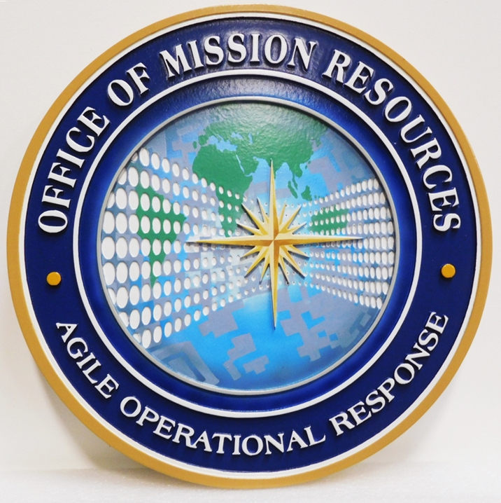 AP-3185 - Carved Plaque of the Seal of the Office of Mission Resources, 2.5-D Artist-Painted