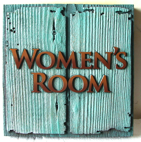 L21974 - Women's Room Sign for Seafood Restaurant, with Rust-Colored Letters on Rustic Verdi Signboard