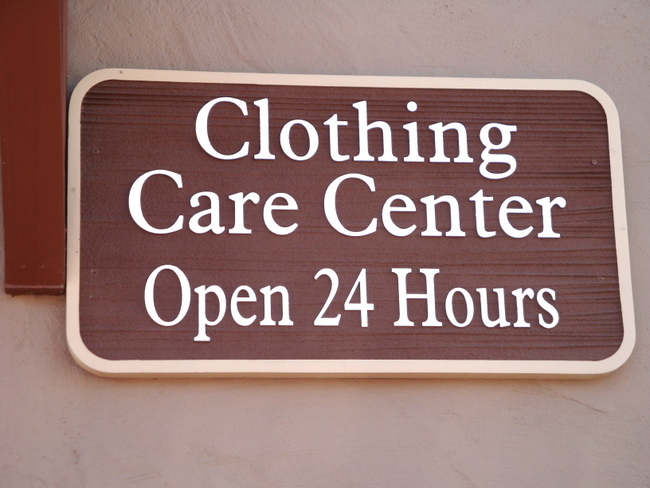 "KA20615 - Carved Wood Look HDU Sign for Laundry and Dry Cleaning ""Clothing Care center Open 24 Hours"""