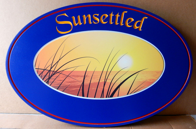 "M22424 -  Smooth HDU Residence Sign ""Sunsettled"""