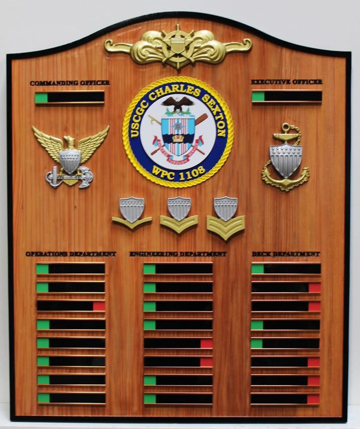 NP-2486 - Carved Ship's Command Board for USCGC Charles Sexton , WPC 1108, 3-D Redwood with Nameplates