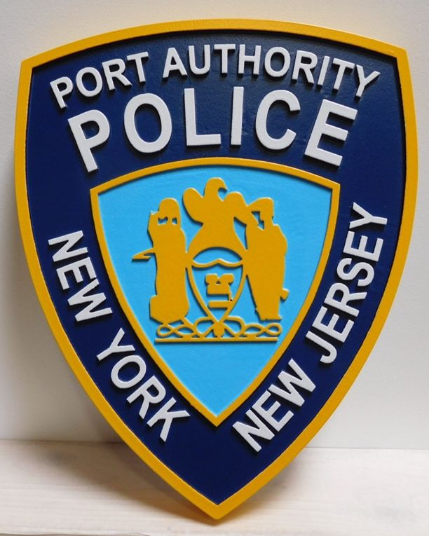 PP-2045 - Carved Plaque of the Shoulder Patch of the New York / New Jersey Port Authority Police, 2.5-D Artist-Painted