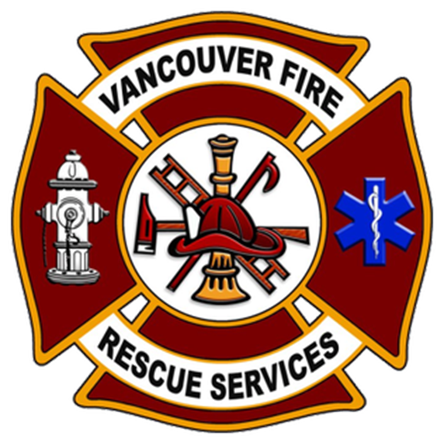 QP-1190 - Carved Wall Plaque of  the Emblem/Badge of  Vancouver Fire Rescue Services, Artist Painted