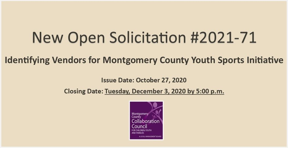 Identifying Vendors for Montgomery County Youth Sports Initiative