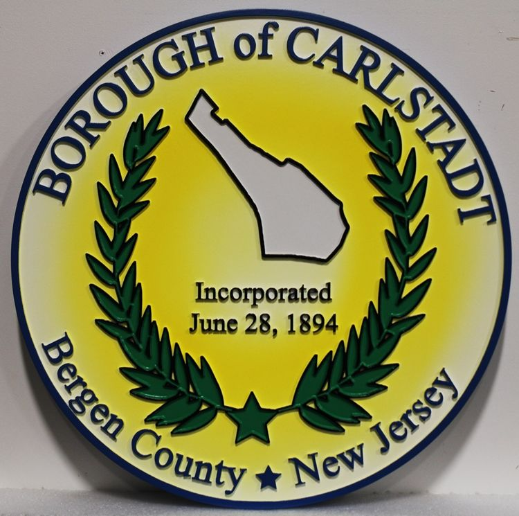 CP-1082 - Carved 2.5-D Artist-Painted Wall Plaque of  The Seal of the Borough of Carlstadt, Bergen County, New Jersey