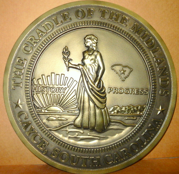 X33037- Carved 3D HDU Wall Plaque of the Seal of the City of Cayce, South Carolina (brass-coated background version)