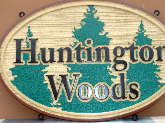 GA16516 - Carved Wood Look Sign for Huntington Woods with Carved Trees