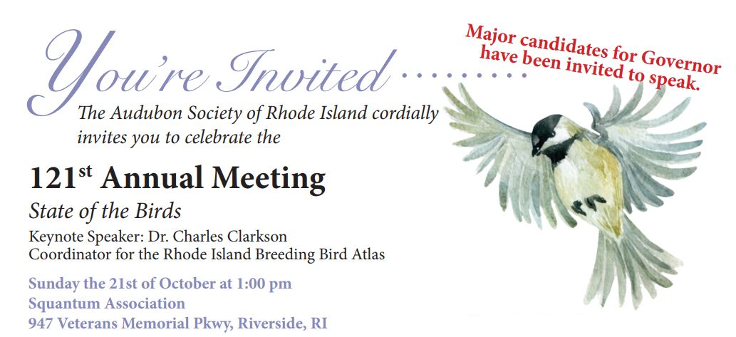 Audubon Society of Rhode Island Annual Meeting October 2018 State of the Birds Riverside Squantum Association