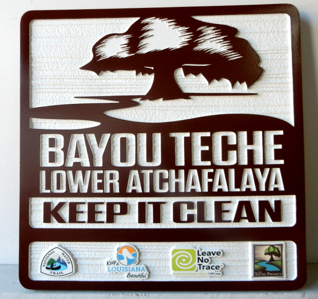 "G16244 - All-Weather ""Keep It Clean"" Sign for Louisiana National Water Trail Bayou, the Bayou Teche Project"