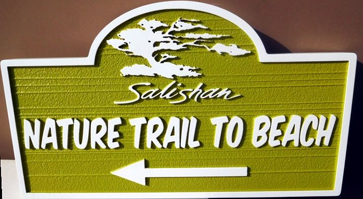 "G16108 - Carved Trail Sign for the ""Salishan Nature Trail"", with Cypress Tree"