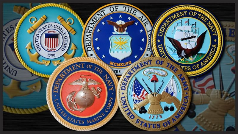 IP-1180 -  Set of Five Carved Plaques of the Seals of the Five Armed Forces, Navy, Marines, Air Force, Army & Coast Guard, Artist Painted