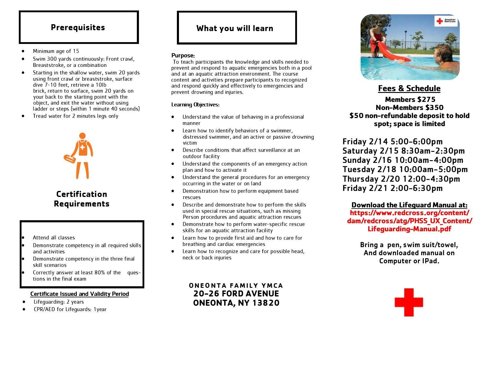 Feb. Lifeguard Course Brochure