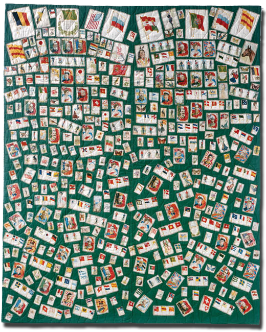Tobacco Premiums quilt, Maker unknown, Probably made in Michigan, United States, Circa 1915-1925, 86.5 x 69.5 in, IQSC 1997.007.0198