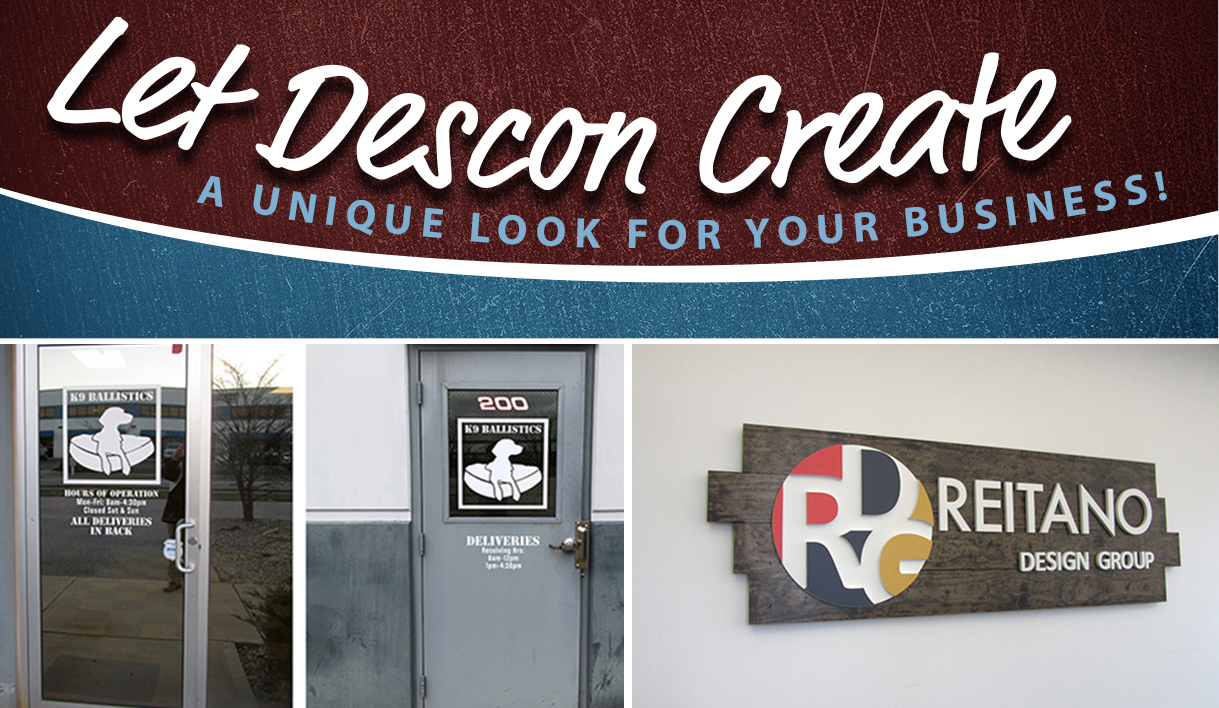 Custom signs and graphics display completed at businesses, business window graphics, custom signs