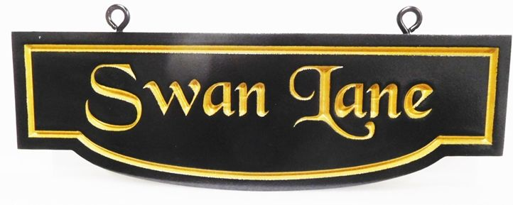 H17076 - Carved Engraved  HDU  Residential Community  Street Name Swan Lane, Hanging  Sign, with 24K Gold-Leaf Gilded Text and Border