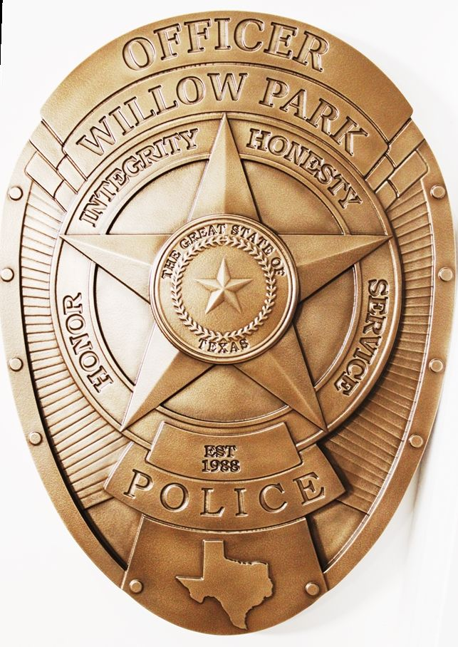 PP-1180 - Carved 3-D Wall Plaque of the Badge of a Police Officer of Willow Park, Texas