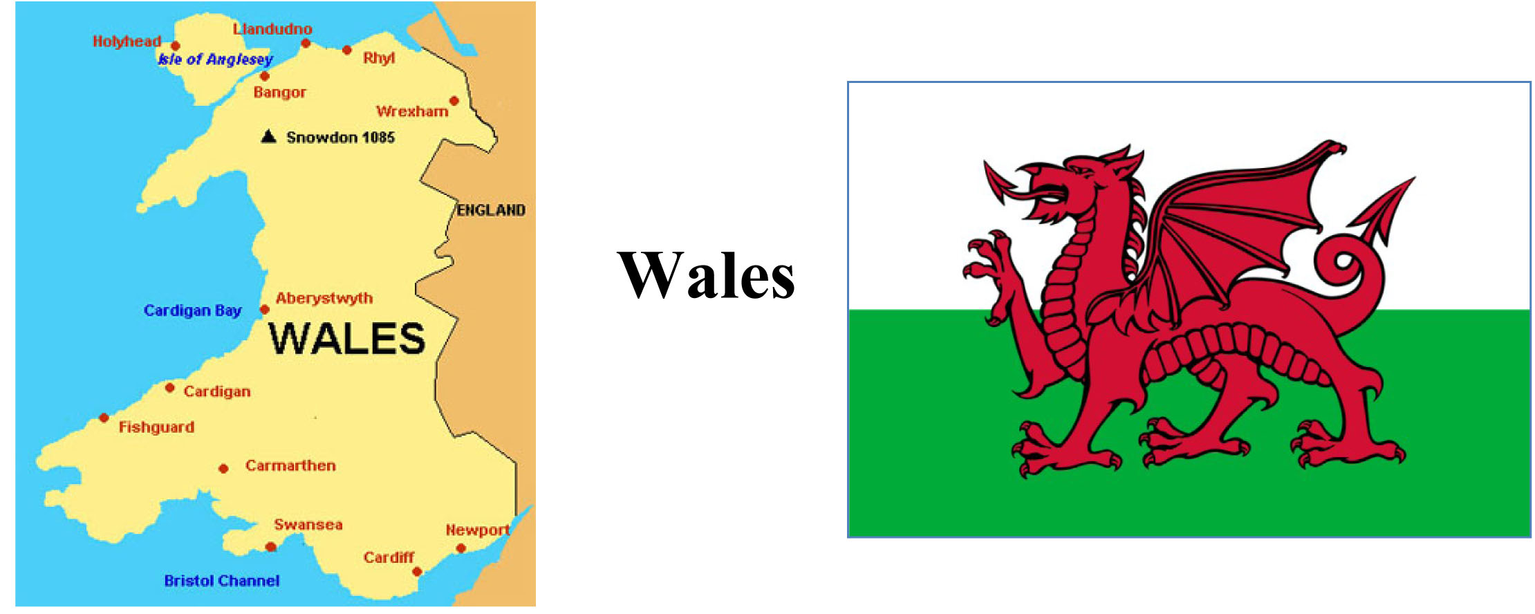 Map and Symbol of Wales
