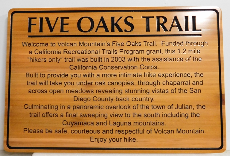 G16110 - Engraved Cedar Trail  Sign for the Start of the Five Oaks Trail