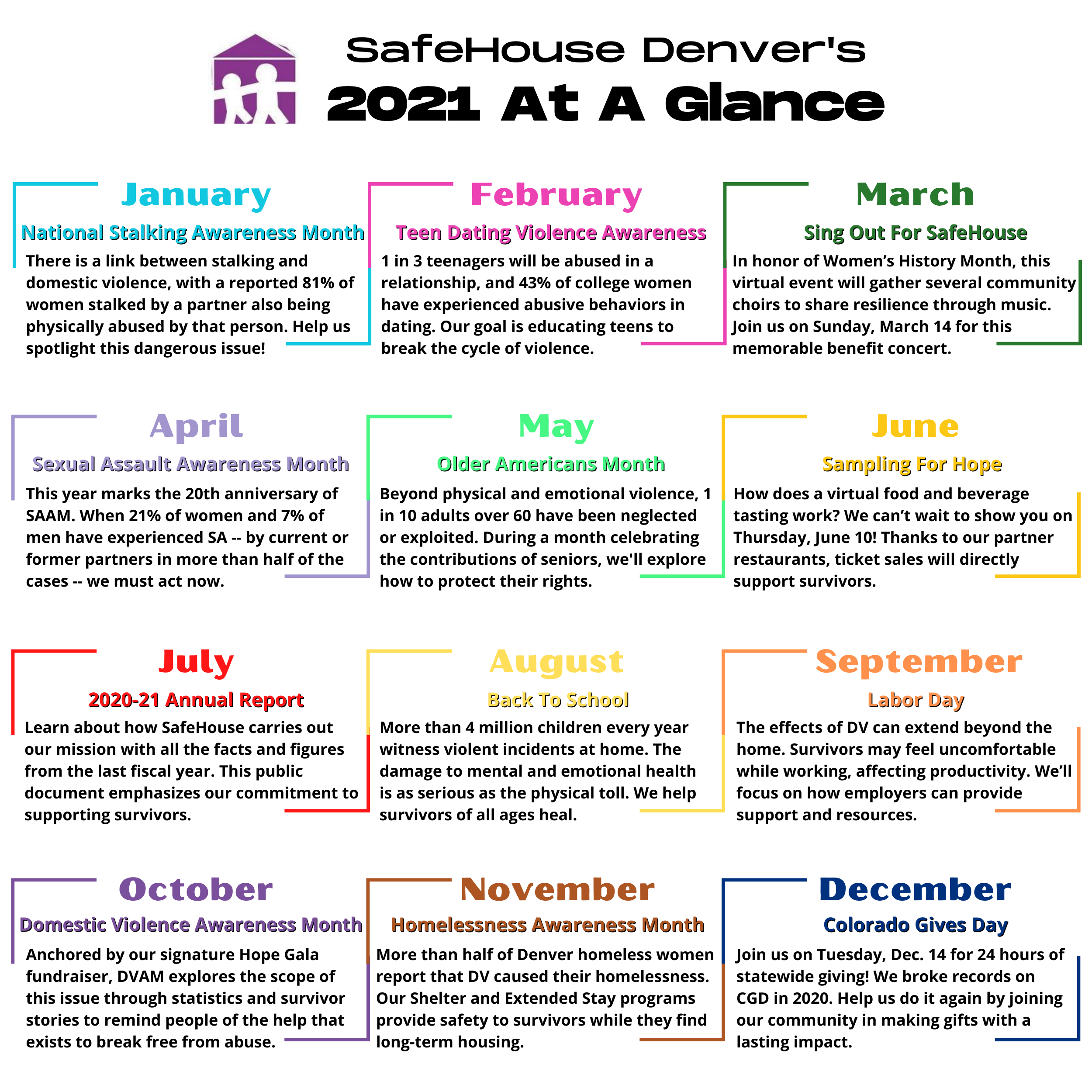 Your Monthly Guide To 2021 At SafeHouse Denver