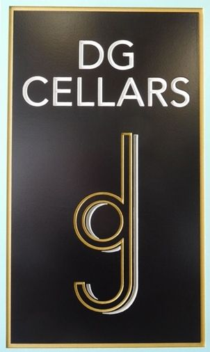 "R27012 -  Elegant Entrance Sign for  ""DG Cellars""  with a 2.5-D Engraved Prismatic  Text and Logo."