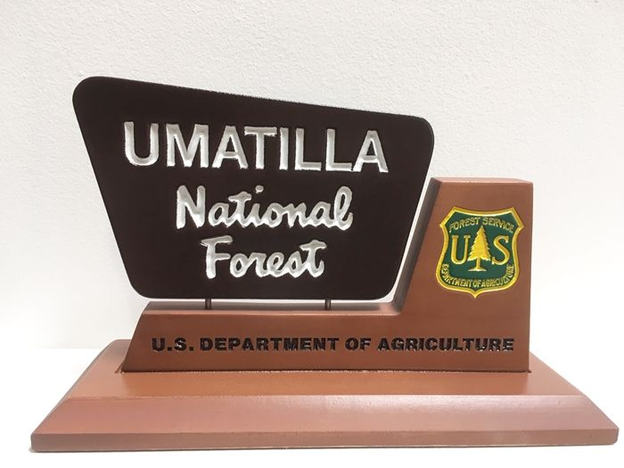 WP-5015. National Forest Service Desk Plaque, with Forest Service Sign and Seal