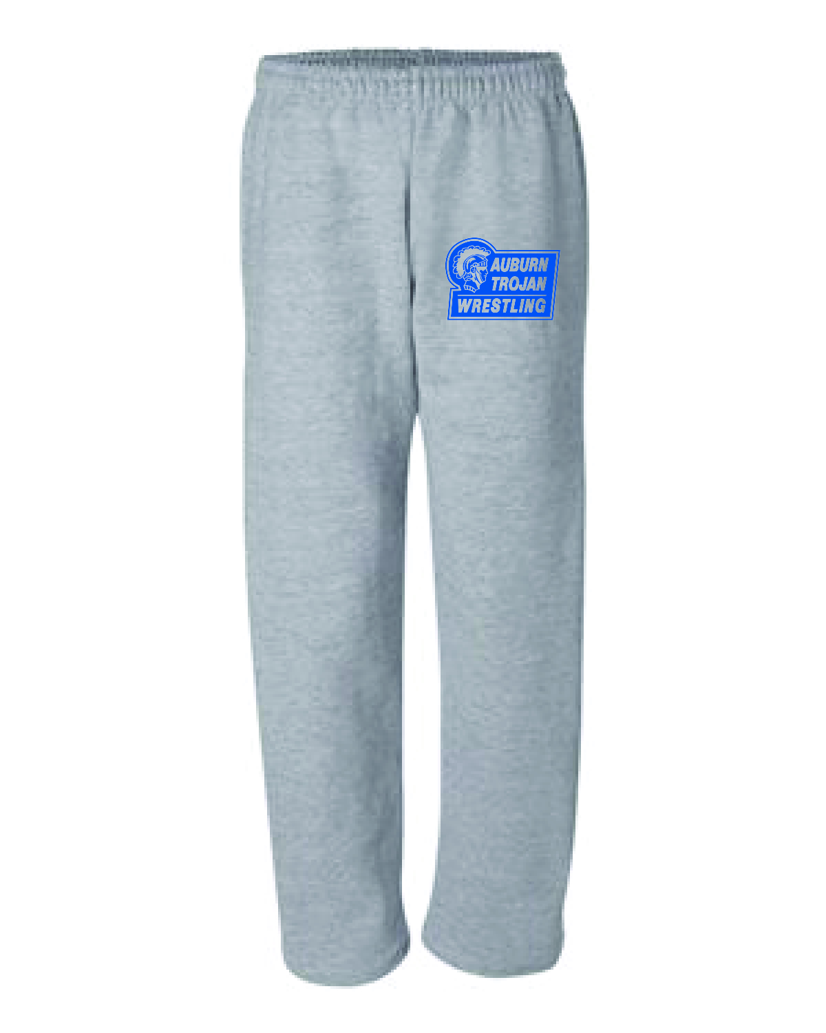 WRESTLING Gildan Open-Bottom Sweatpants with Pockets (MENS) GRAY