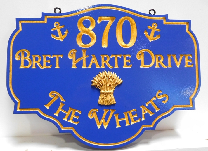 "I18248 - Carved 3D High-Density-Urethane (HDU)  Address and Property Name Sign for   ""The Wheats"" Family"