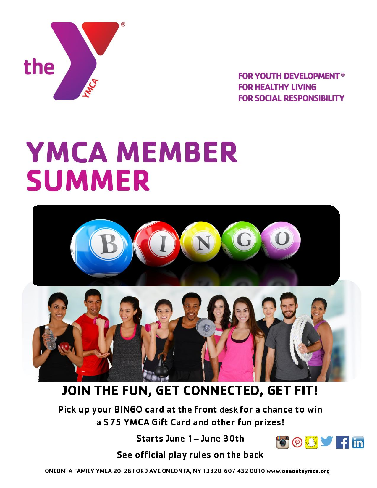 YMCA MEMBER SUMMER BINGO