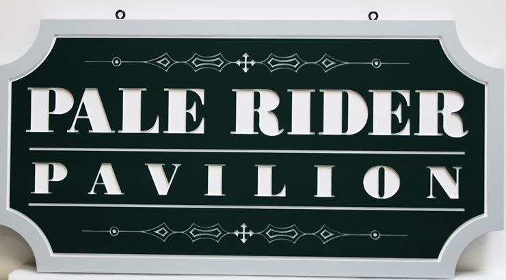 "GA16519 -  Engraved High-Density-Urethane (HDU) ""Pale Rider Pavilion""  Sign"