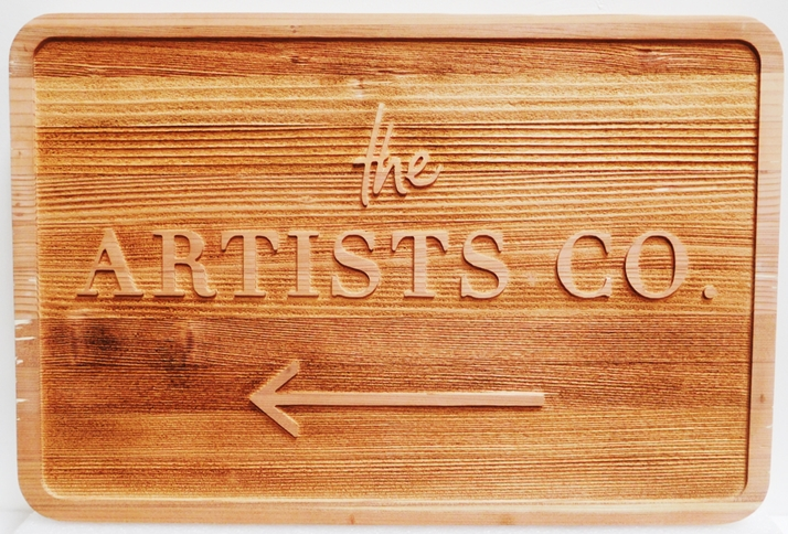 SA28300  - Carved and Sandblasted Directional Sign for the Artist Company , 2.5-D Raised Relief