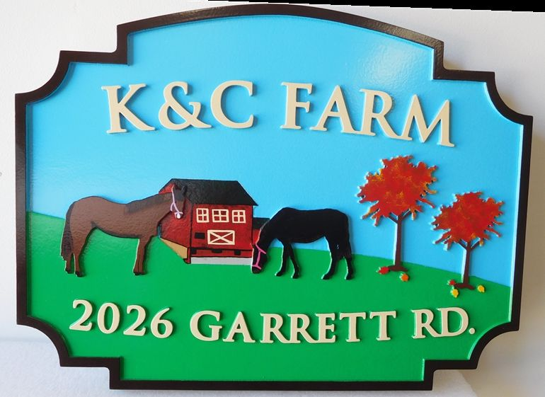 """O24804 - Sign for  the """"K & C"""" Farm  with Barn, Horses, Trees and Pasture as Artwork"""