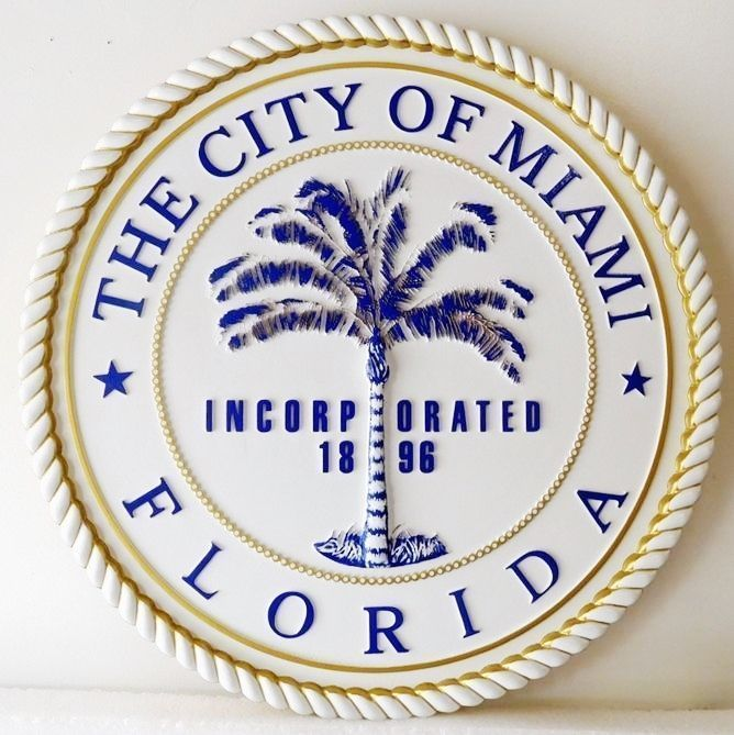 X33266 - Carved 3-D  Plaque of the Seal of the City of Miami , Florida