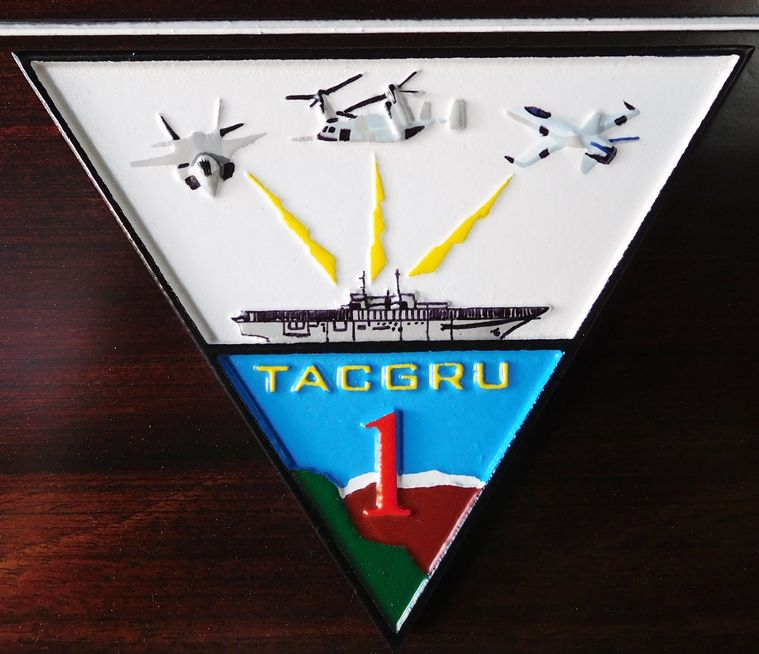 V31261A - Close-up of Carved 3-D HDU TACGRU ONE Crest/Logo, with Carrier and Aircraft