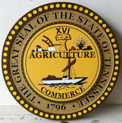 BP-1490 - Carved Plaque of the Great Seal of the State of Tennessee,  Artist Painted