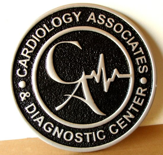 M7460 - Metallic Silver Painted Sandblasted HDU Wall Plaque for Cardiology Diagnostic Center