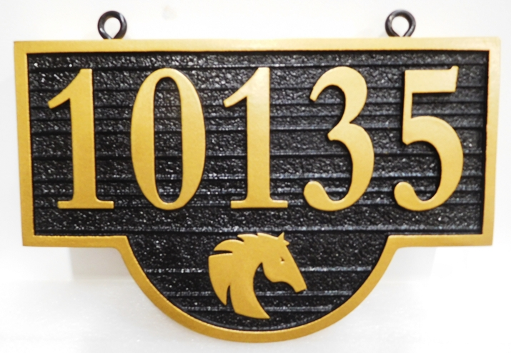 I18852 - Carved and Sandblasted Wood Grain HDU Hanging Address Number Sign, 2.5-D Relief  with Horse Head as Artwork