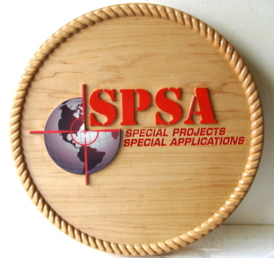 IP-1650 -  Carved Plaque of the Seal of  Special Projects Special Applications,  Artist Painted on Maple Wood