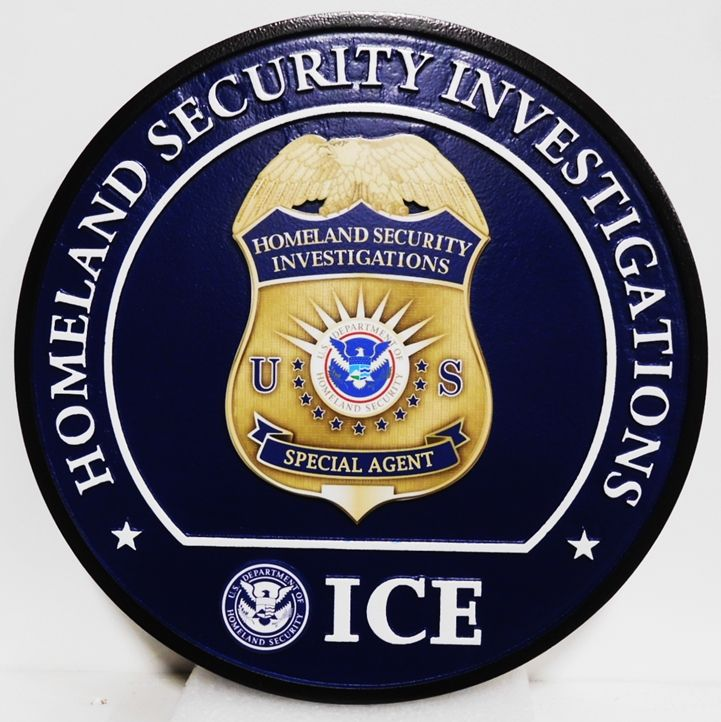 PP-1537 - Carved Plaque of the Badge of Homeland Security Investigations, 2.5 D with Giclee Applique