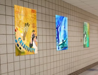 School hallway with murals for fitness and school activities, custom signs
