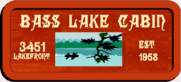 "M22318 - Design of Carved Wood Fishing Cabin Sign ""Bass Lake Cabin"" with Silhouette of Fishermen in Boat"