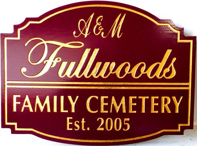 GC16310 - Carved Engraved High-Density-Urethane (HDU) EntranceSign  for the Fullwoods Family Cemetery