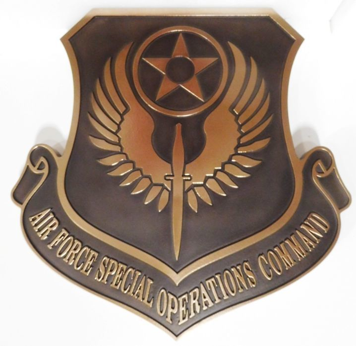 V31648 - Carved 2.5-D Bronze-Plated shield Plaquefor the Air Force Special Operations Command