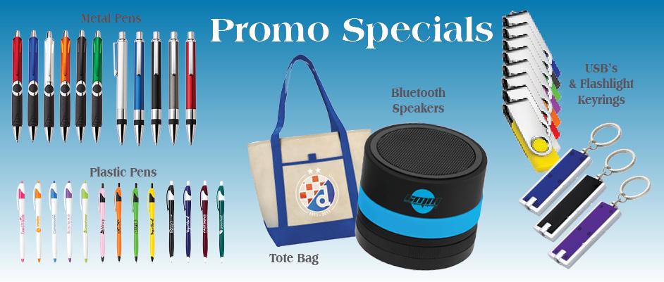 Pens, Tote Bags, Speakers, USB's, Flashlights